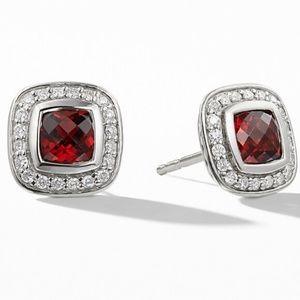 David Yurman Albion Earrings w/ Garnet + Diamonds